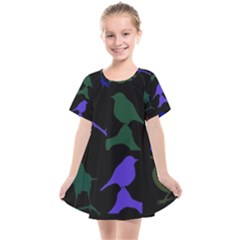 Bird Watching   Dark Colorful Kids  Smock Dress