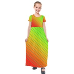 Orange Green Gradient Hunter Kids  Short Sleeve Maxi Dress by Jojostore