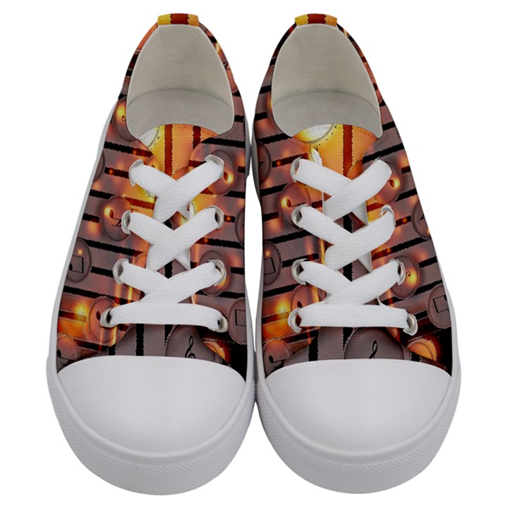 Music Notes Sound Musical Audio Kids  Low Top Canvas Sneakers