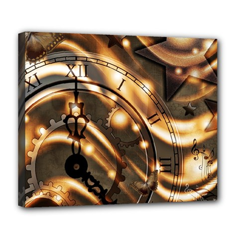 Time Clock Star Hour Day Night Deluxe Canvas 24  X 20  (stretched)