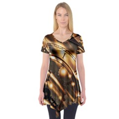 Time Clock Star Hour Day Night Short Sleeve Tunic