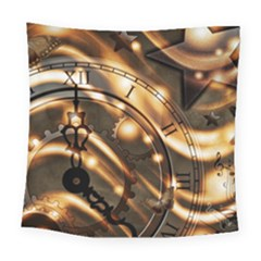 Time Clock Star Hour Day Night Square Tapestry (large)