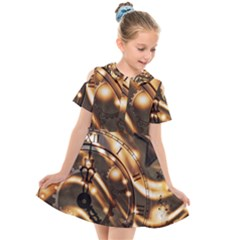 Time Clock Star Hour Day Night Kids  Short Sleeve Shirt Dress