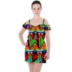 Zoom Butterfly Insect Colorful Ruffle Cut Out Chiffon Playsuit