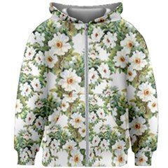 White Flowers Pattern Kids  Zipper Hoodie Without Drawstring by goljakoff