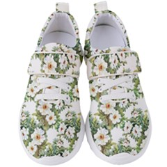 White Flowers Pattern Women s Velcro Strap Shoes by goljakoff