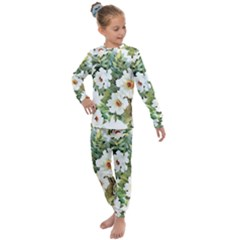 White Flowers Paint Kids  Long Sleeve Set  by goljakoff