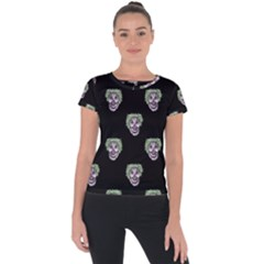 Creepy Zombies Motif Pattern Illustration Short Sleeve Sports Top  by dflcprintsclothing