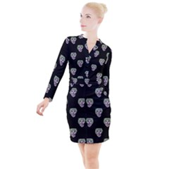 Creepy Zombies Motif Pattern Illustration Button Long Sleeve Dress