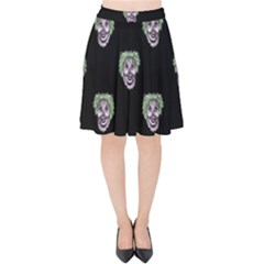 Creepy Zombies Motif Pattern Illustration Velvet High Waist Skirt by dflcprintsclothing