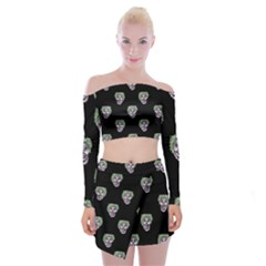Creepy Zombies Motif Pattern Illustration Off Shoulder Top With Mini Skirt Set