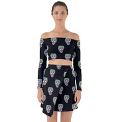 Creepy Zombies Motif Pattern Illustration Off Shoulder Top With Skirt Set