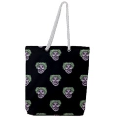 Creepy Zombies Motif Pattern Illustration Full Print Rope Handle Tote (large)