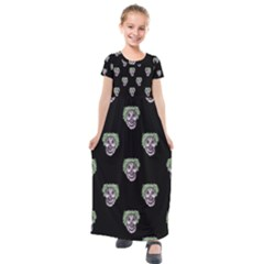 Creepy Zombies Motif Pattern Illustration Kids  Short Sleeve Maxi Dress by dflcprintsclothing