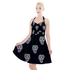 Creepy Zombies Motif Pattern Illustration Halter Party Swing Dress