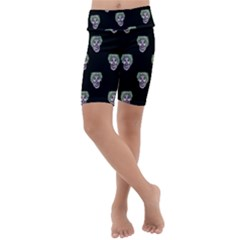 Creepy Zombies Motif Pattern Illustration Kids  Lightweight Velour Cropped Yoga Leggings by dflcprintsclothing