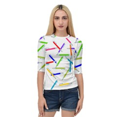 Pen Pencil Color Write Tool Quarter Sleeve Raglan Tee