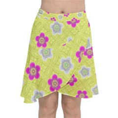 Traditional Patterns Plum Chiffon Wrap Front Skirt by Mariart