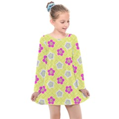 Traditional Patterns Plum Kids  Long Sleeve Dress by Mariart