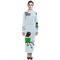 Birds Tree Animal Black Tree Green Turtleneck Maxi Dress
