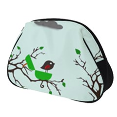 Birds Tree Animal Black Tree Green Full Print Accessory Pouch (small)