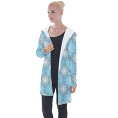 White Light Blue Gray Tile Longline Hooded Cardigan