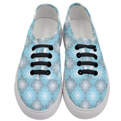 White Light Blue Gray Tile Women s Classic Low Top Sneakers