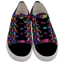 Background Colorful Geometric Men s Low Top Canvas Sneakers