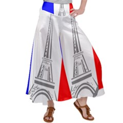 Eiffel Tower France Flag Tower Satin Palazzo Pants by Sudhe