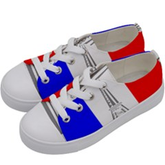 Eiffel Tower France Flag Tower Kids  Low Top Canvas Sneakers by Sudhe