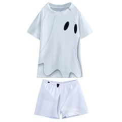 Ghost Boo Halloween Spooky Haunted Kids  Swim Tee And Shorts Set