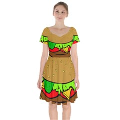 Hamburger Cheeseburger Fast Food Short Sleeve Bardot Dress