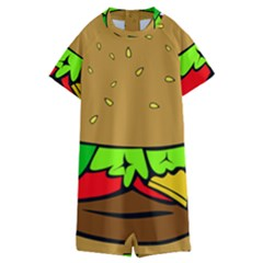 Hamburger Cheeseburger Fast Food Kids  Boyleg Half Suit Swimwear