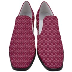 Heart Shaped Print Design Slip On Heel Loafers by dflcprintsclothing