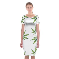 Cannabis Curative Cut Out Drug Classic Short Sleeve Midi Dress
