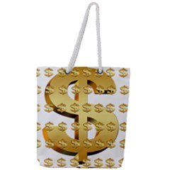 Dollar Money Gold Finance Sign Full Print Rope Handle Tote (large)