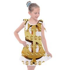 Dollar Money Gold Finance Sign Kids  Tie Up Tunic Dress