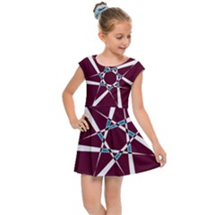 Star Sky Design Decor Red Kids  Cap Sleeve Dress by Alisyart