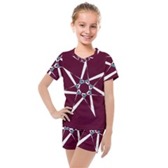 Star Sky Design Decor Red Kids  Mesh Tee And Shorts Set by Alisyart