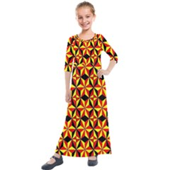 Geo Pattern 1 Kids  Quarter Sleeve Maxi Dress by ArtworkByPatrick