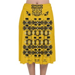 Jungle Elephants Velvet Flared Midi Skirt by pepitasart