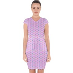 Hexagonal Pattern Unidirectional Capsleeve Drawstring Dress