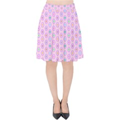 Hexagonal Pattern Unidirectional Velvet High Waist Skirt