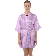 Hexagonal Pattern Unidirectional Quarter Sleeve Kimono Robe