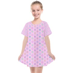 Hexagonal Pattern Unidirectional Kids  Smock Dress