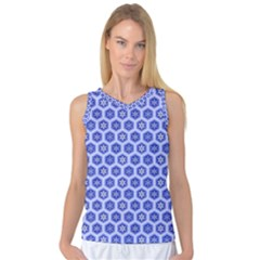 Hexagonal Pattern Unidirectional Blue Women s Basketball Tank Top