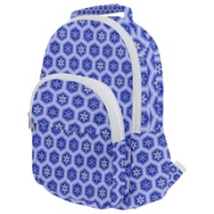 Hexagonal Pattern Unidirectional Blue Rounded Multi Pocket Backpack