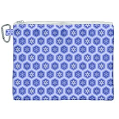 Hexagonal Pattern Unidirectional Blue Canvas Cosmetic Bag (xxl)