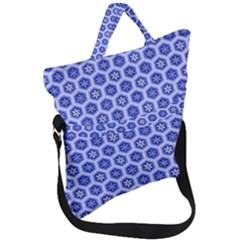 Hexagonal Pattern Unidirectional Blue Fold Over Handle Tote Bag