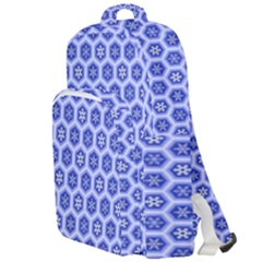 Hexagonal Pattern Unidirectional Blue Double Compartment Backpack